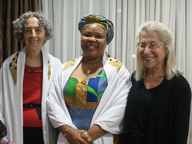AJWS President Ruth Messinger, Liberian activist and Nobel Peace Prize winner Leymah Gbowee and American Jewish feminist writer Letty Cottin Pogrebin