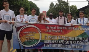 Julius Kaggwa and a group of AJWS LA staff and supporters ready to march!