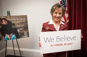Congresswoman Jan Schakowsky standing up for IVAWA at our congressional reception. Photo credit: Mak Photography