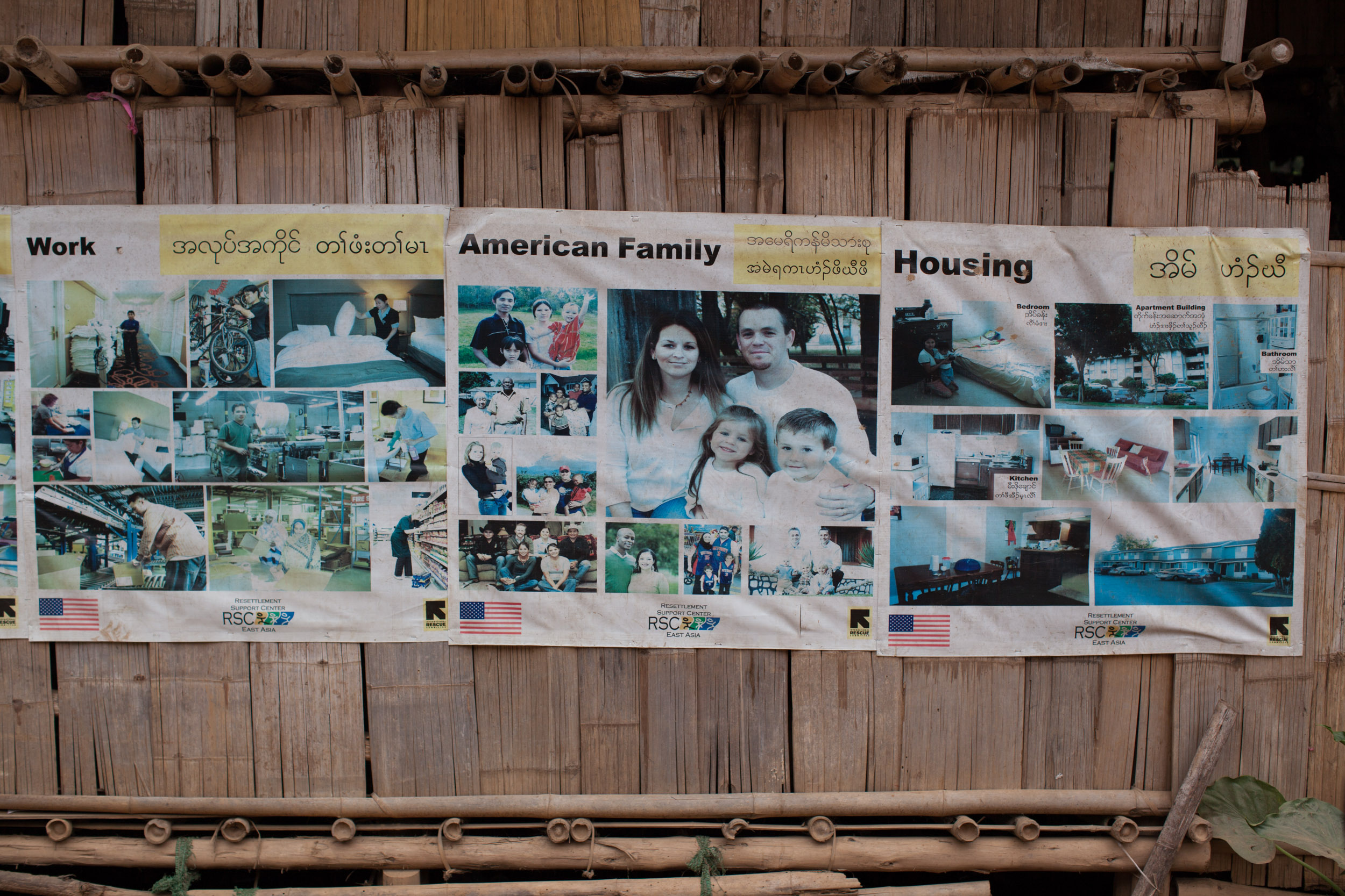 Posters on American culture designed to prepare Karen refugees for resettlement