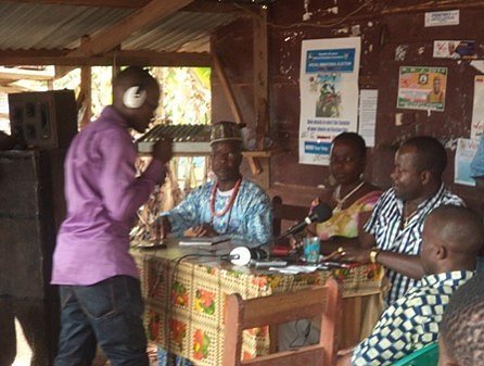 Grantee DEN-L leading a community radio show to raise awareness around Ebola prevention