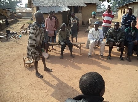Grantee DEN-L organizing a community meeting to respond to questions on Ebola in Bong County