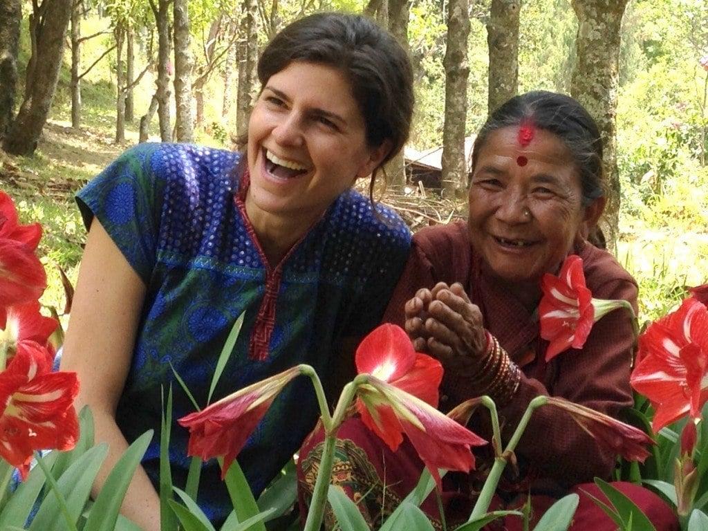 AJWS's Director of Disaster Response & International Operations, Samantha Wolthuis, with Saili Tamang, an earthquake survivor from Mazuwa, Nepal