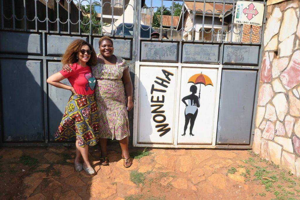 Felicia Horowitz with Daisy from WONETHA in Uganda, 2017.