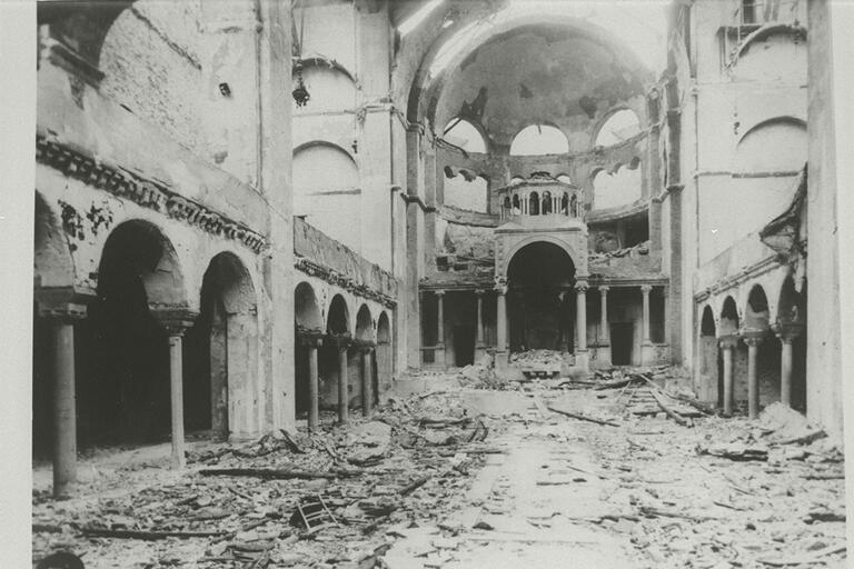 A burned out synagogue from 1938 in Austria. Photo: Center for Jewish History, NYC